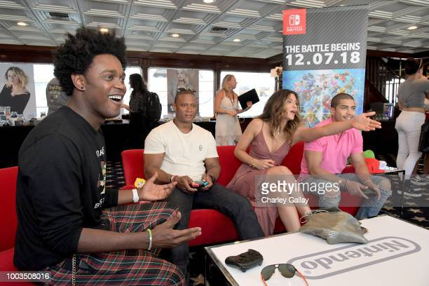 Echo Kellum David Ramsey Juliana Harkavy and Rick Gonzalez put their gaming skills to the test playing Mario Kart 8 Deluxe on Nintendo Switch at the...
