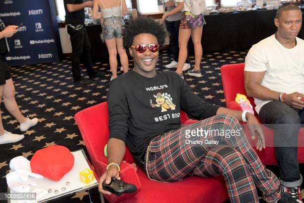 Echo Kellum puts his gaming skills to the test playing Mario Kart 8 Deluxe on Nintendo Switch at the Variety Studio at ComicCon 2018 on July 21 2018...