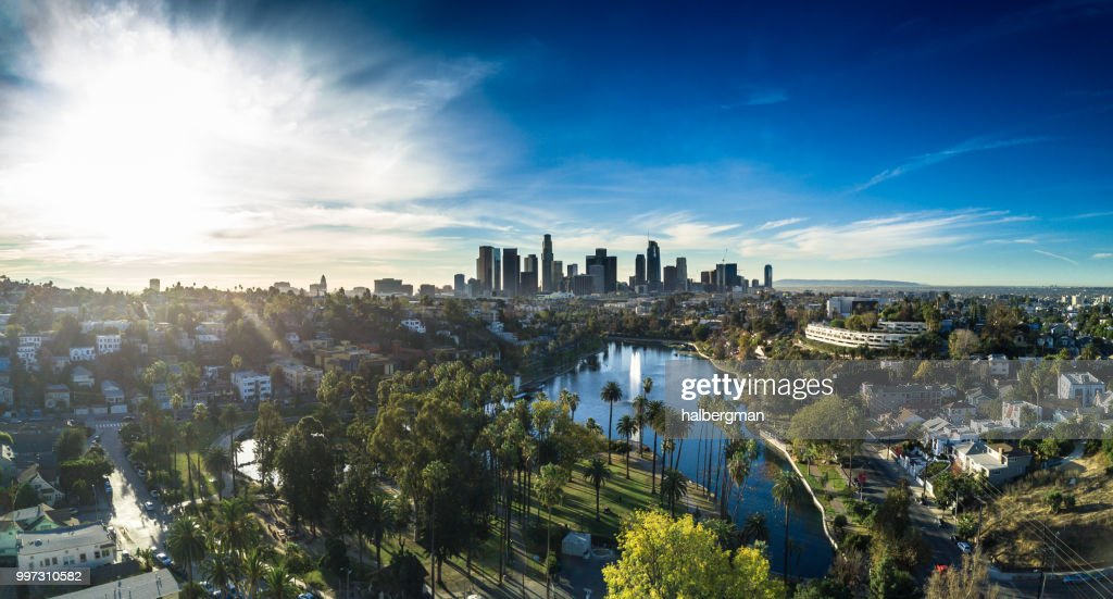 Echo Park, Los Angeles - Aerial Panorama : Stock Photo