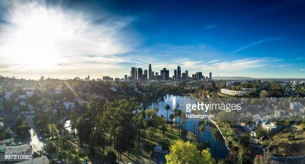 echo park, los angeles - aerial panorama - downtown stock pictures, royalty-free photos & images