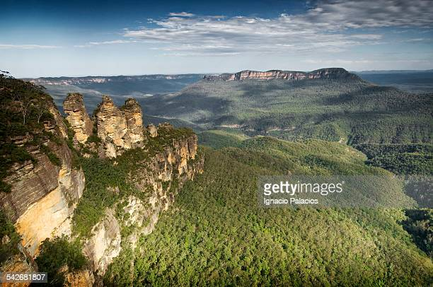 echo point three sisters, blue mountains - blue mountains national park stock pictures, royalty-free photos & images