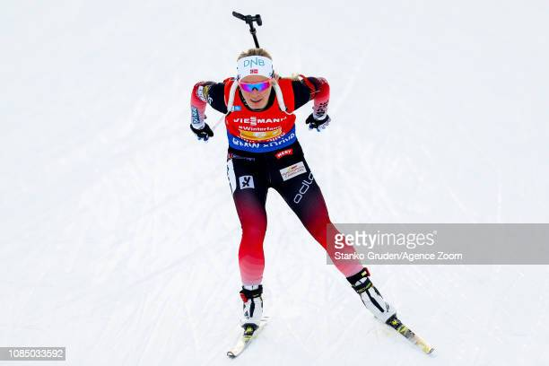 Echof Tiril takes 2nd place during the IBU Biathlon World Cup Women's Relay on January 19, 2019 in Ruhpolding, Germany.
