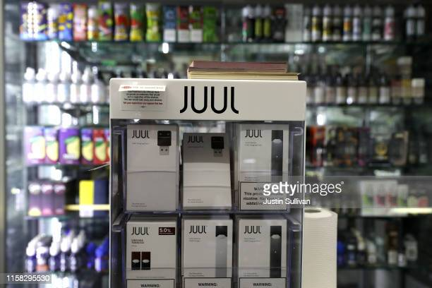 Cigarettes made by Juul are displayed at Smoke and Gift Shop on June 25, 2019 in San Francisco, California. The San Francisco Board of Supervisors...