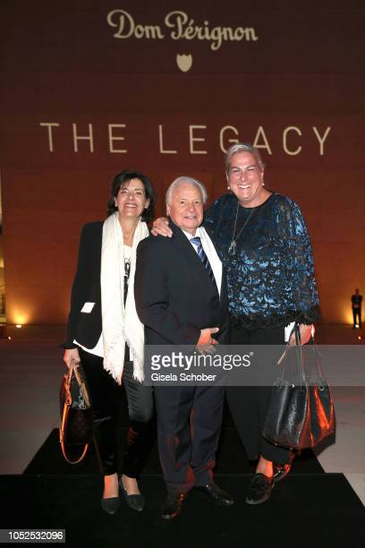 Eckart Witzigmann and his partner Nicola Schnelldorfer and Uli Schmidt editor of TZ during the Dom Perignon 'The Legacy' event on October 17 2018 in...