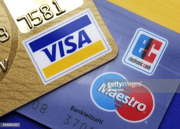 Maestro Ec Karte.Ec Karte Mit Den Logos Von Maestro Und Ec Und Visa Karte News Photo