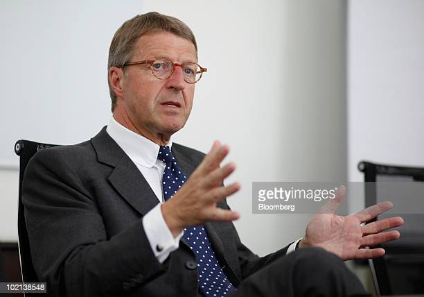 Eckhard Cordes chief executive officer of Metro AG gestures during an interview in Berlin Germany on Wednesday June 16 2010 Metro AG Germany's...