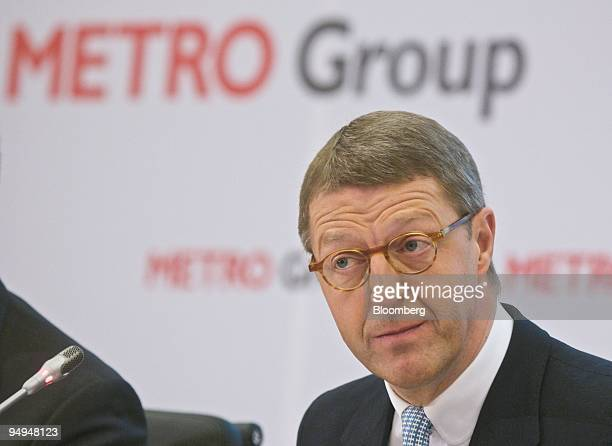 Eckhard Cordes chief executive officer of Metro AG listens during the company's earnings news conference in Duesseldorf Germany on Tuesday March 24...