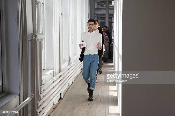 Eckhaus Latta fashion designer Mike Eckhart at Eckhaus Latta Front Row during MADE Fashion Week Fall 2015 on February 16 2015 in New York City