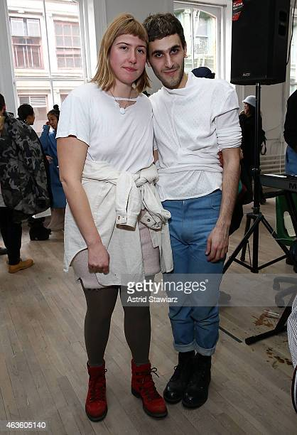 Eckhaus Latta fashion designers Zoe Latta and Mike Eckhart attend Eckhaus Latta Front Row during MADE Fashion Week Fall 2015 on February 16 2015 in...