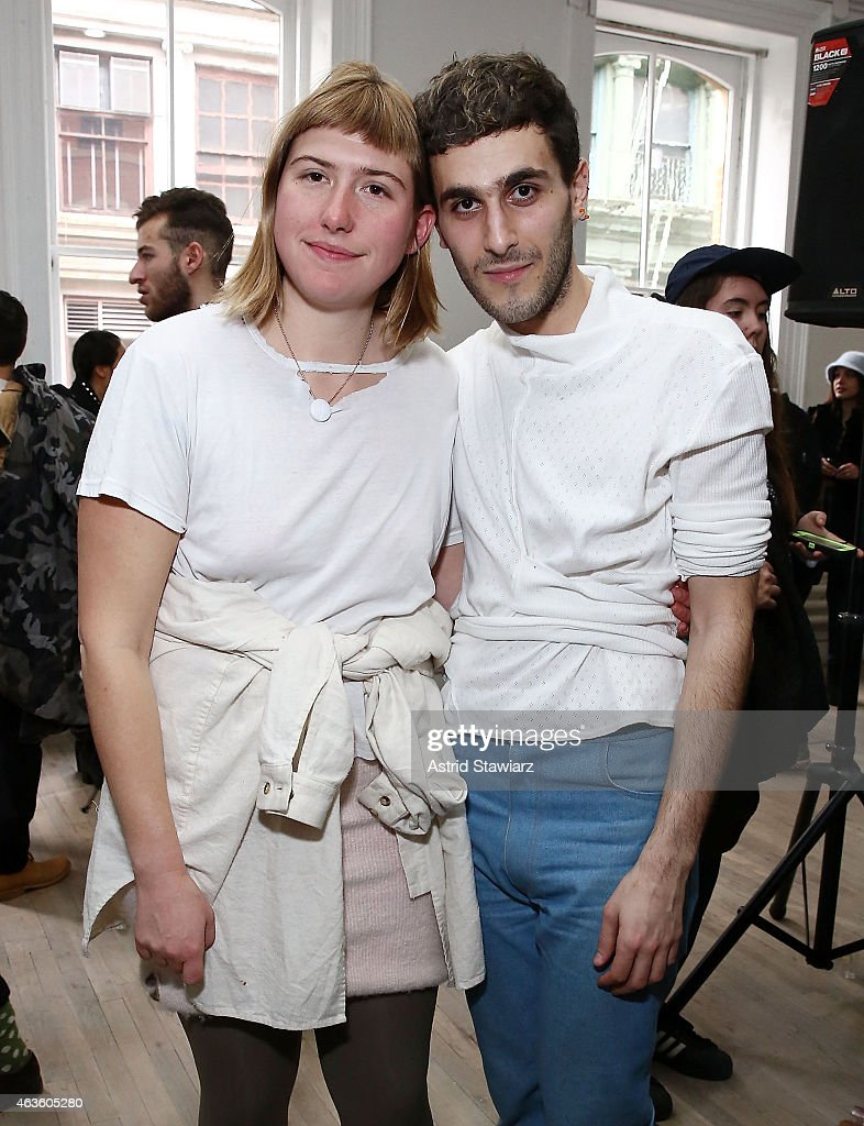 Eckhaus Latta fashion designers Zoe Latta and Mike Eckhart attend Eckhaus Latta -Front Row during MADE Fashion Week Fall 2015 on February 16, 2015 in New York City.