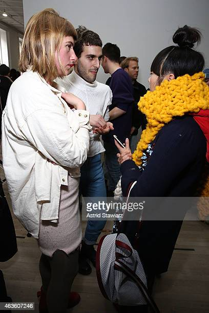Eckhaus Latta fashion designers Zoe Latta and Mike Eckhart talk with blogger Susie Bubble at Eckhaus Latta Front Row during MADE Fashion Week Fall...