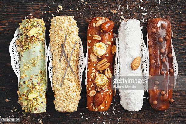 Eclairs with different topping