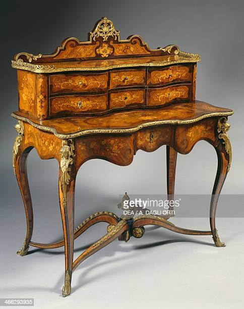 EclecticNeoRococo style writing desk with gilt bronze decorations Italy 19th century