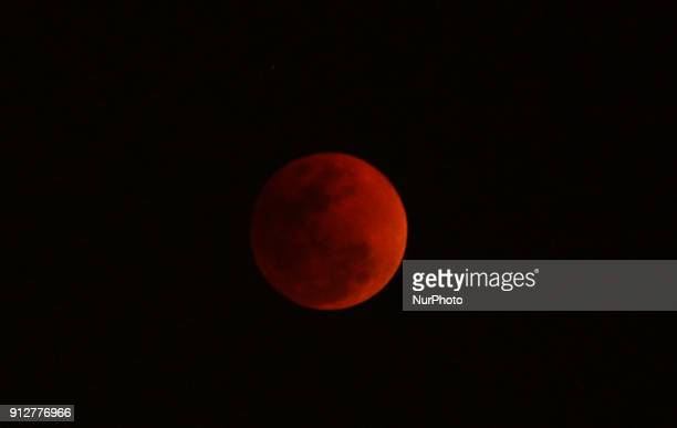 Eclipse of the Super Blue Blood Moon is seen in the sky on the Bay of Bengal Sea's eastern coast beach at Puri 65 km away from the eastern Indian...