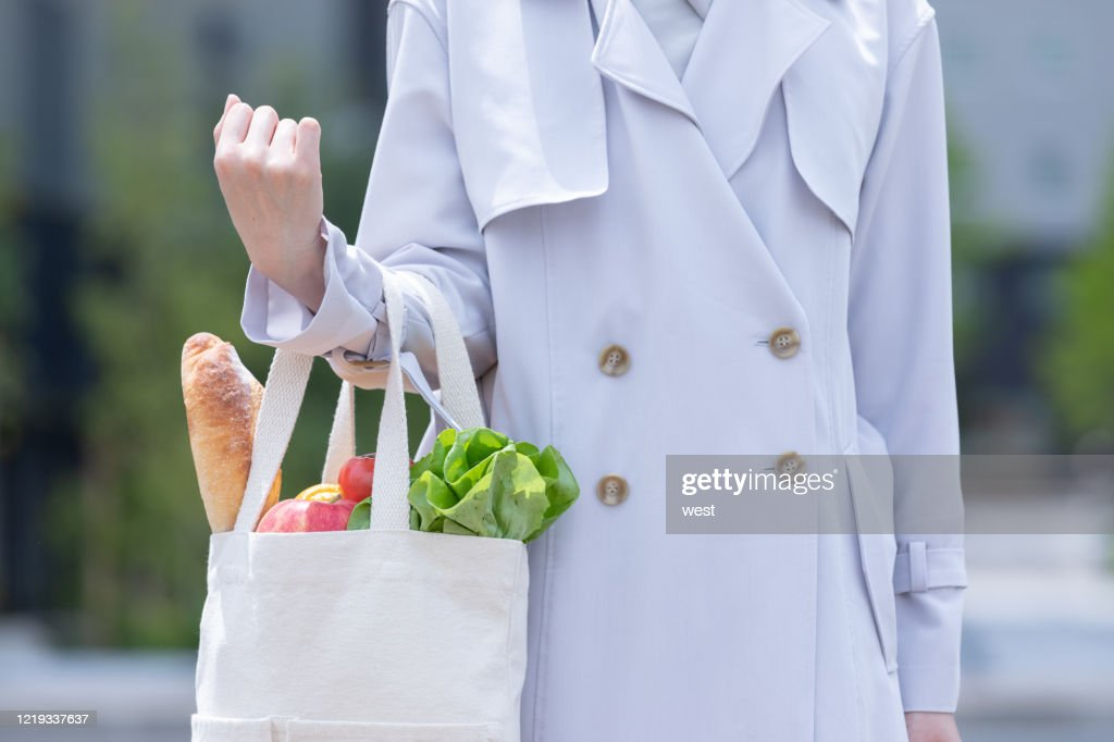 Eco bags for foods bought at supermarkets : Stock Photo