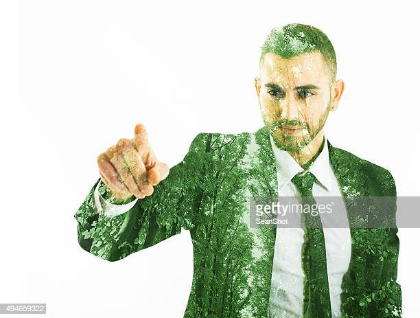 Eco Businessman Touching a Point