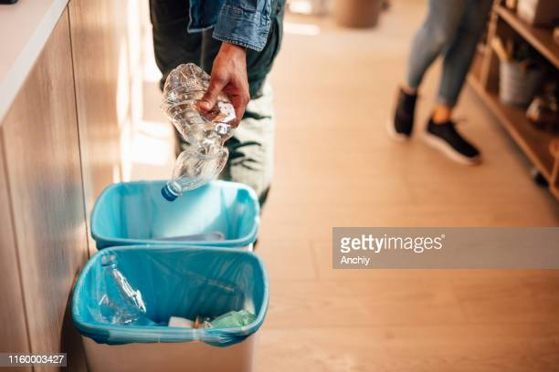 eco container with plastic bottles - recycling bin stock pictures, royalty-free photos & images