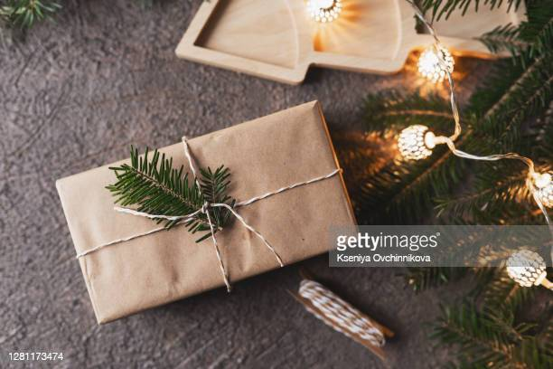 eco craft holidays gift boxes mock up, reuse, zero waste, plastic free, sustainable living concept - gifts stock pictures, royalty-free photos & images