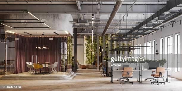 umweltfreundlicher büroinnenraum in 3d-rendering - büro stock-fotos und bilder