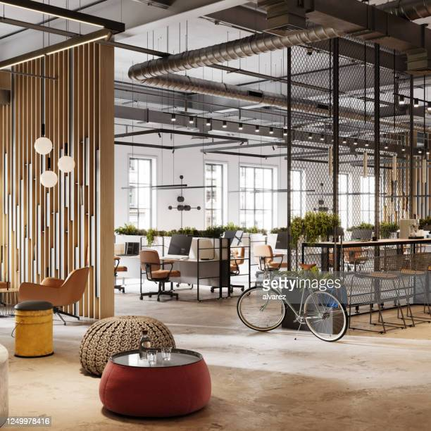 eco friendly office space in 3d - sustainable architecture stock pictures, royalty-free photos & images