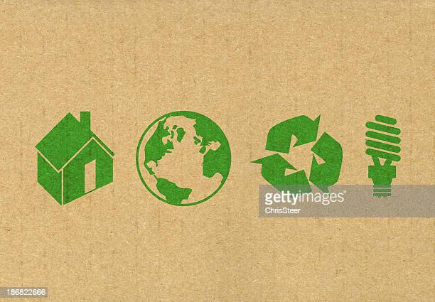 eco friendly symbols - carbon footprint stock pictures, royalty-free photos & images
