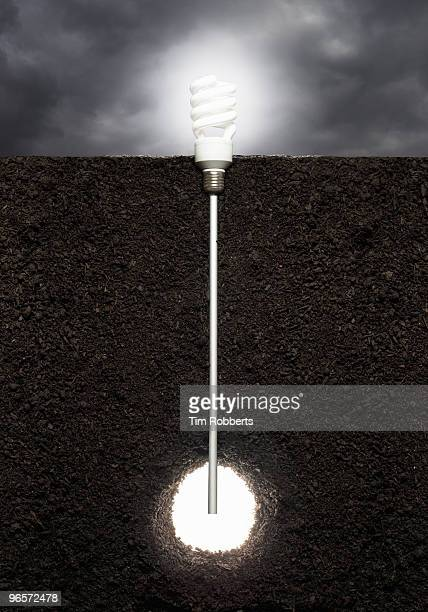 Eco light bulb powered by geothermal heat.