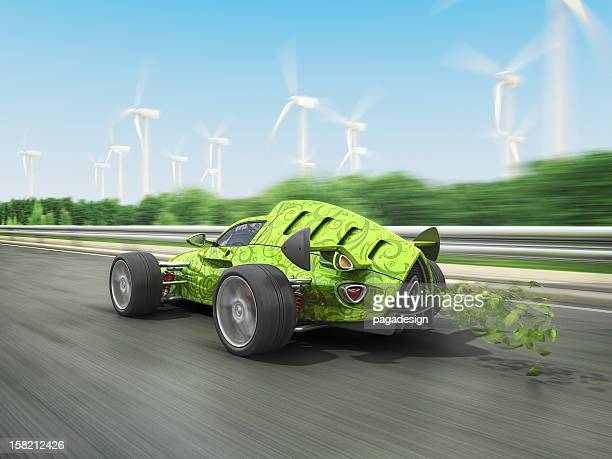 eco racecar - hot rod car stock photos and pictures