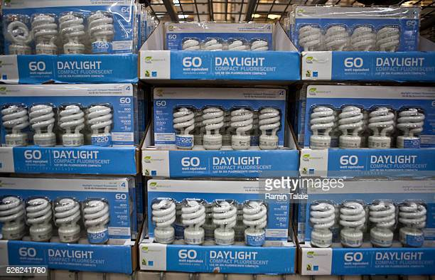 Eco Smart brand energy efficient light bulbs are on disply at a Home Depot store in the Brooklyn borough of New York on April 8 2010