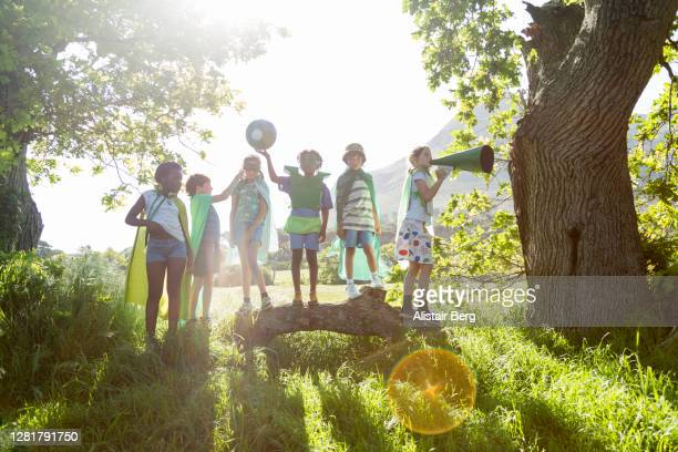 eco warrior children in nature - standing out from the crowd stock pictures, royalty-free photos & images