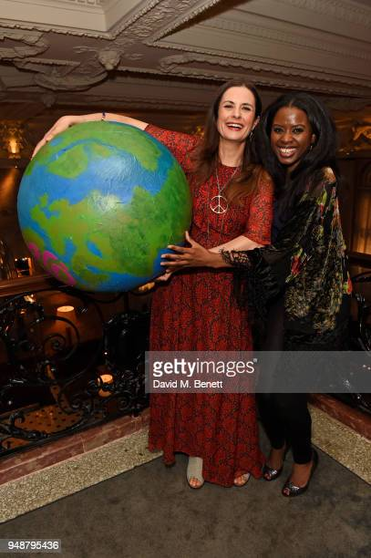 EcoAge founder and creative director Livia Firth and June Sarpong attend the Eco Age Earth Day party at The London EDITION on April 19 2018 in London...