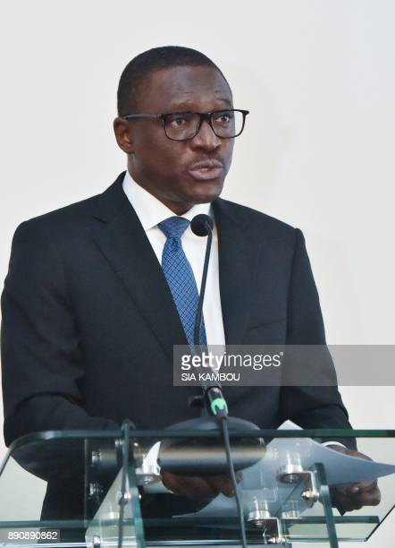Ecobank Cote D'Ivoire General Director Charles Daboiko speaks during the first valuation of the panAfrican banking conglomerate Ecobank Cote D'Ivoire...