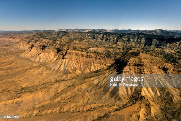 EcoFlight pilot Pilot Bruce Gordon flies over the eroded landscapes of the Book Cliffs on June 25 2018 in Grand Junction Colorado The Book Cliffs are...