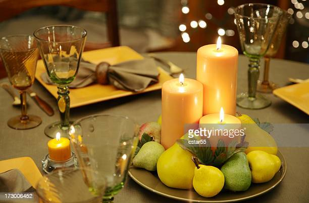 Eco-Friendly Table Decoration with natural colored candles, plates