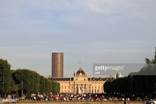 Ecole Militaire and people in Champ de Mars, Paris