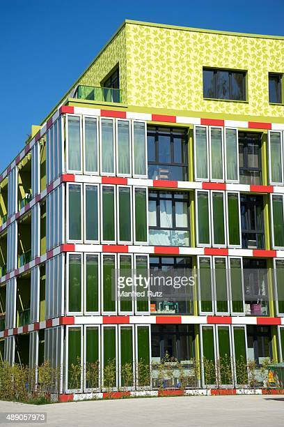 Ecological sustainable green building in the facade are growing algae to produce energy