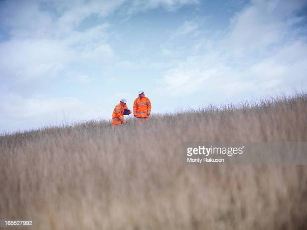 ecologists at surface coal mine restoration working - ecologist stock pictures, royalty-free photos & images