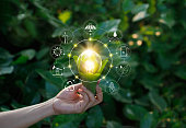 Ecology concept. Hand holding light bulb against nature on green leaf with icons energy sources for renewable, sustainable development, save energy.