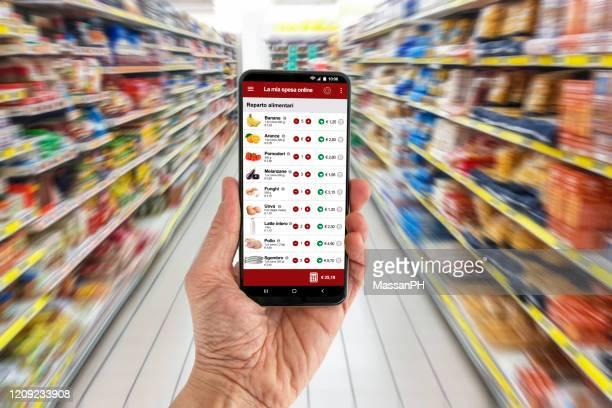 e-commerce application for food products, italian version - gemak stockfoto's en -beelden