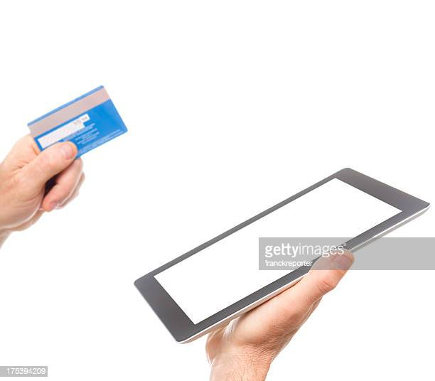 E-commerce with New digital tablet on white background
