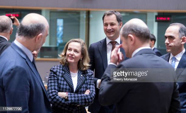 EU Economic and Financial Affairs Taxation and Customs Commissioner Pierre Moscovici is talking with the Spanish Minister of Minister of Economy...