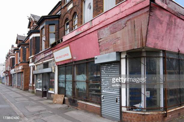 economic depression, closed shops - manchester uk stock photos and pictures