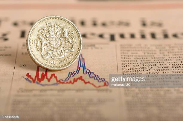 economic down turn - british currency stock pictures, royalty-free photos & images