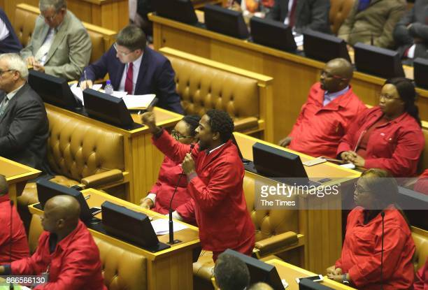 Economic Freedom Fighters leader Mbuyiseni Ndlozi poses a question during finance minister Malusi Gigabas Mediumterm budget speech in Parliament on...