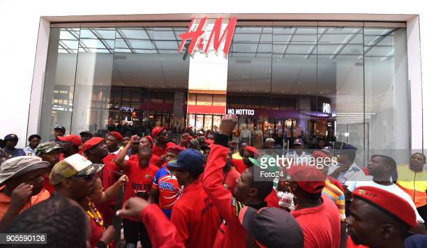 Economic Freedom Fighters members protest against the HM store in the Mall of Africa on January 15 2018 in Johannesburg South Africa EFF members...
