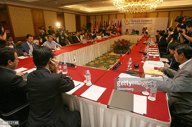 Economic ministers of the Association of Southeast Asian Nations attend the ASEAN Ministers of Economy Trade and Industry meeting in Cebu the...