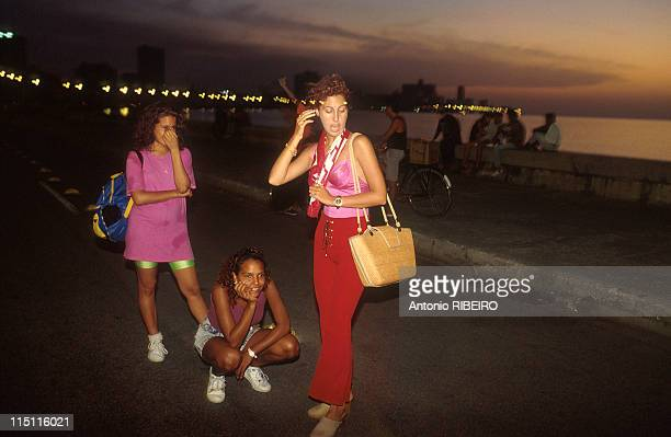 Economic situation in Havana Cuba in September 1994 Prostitutes on the Malecon