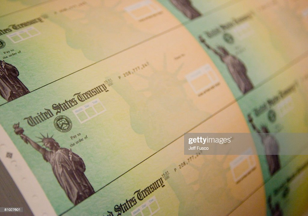 Economic Stimulus Package Tax Rebate Checks Printed : News Photo