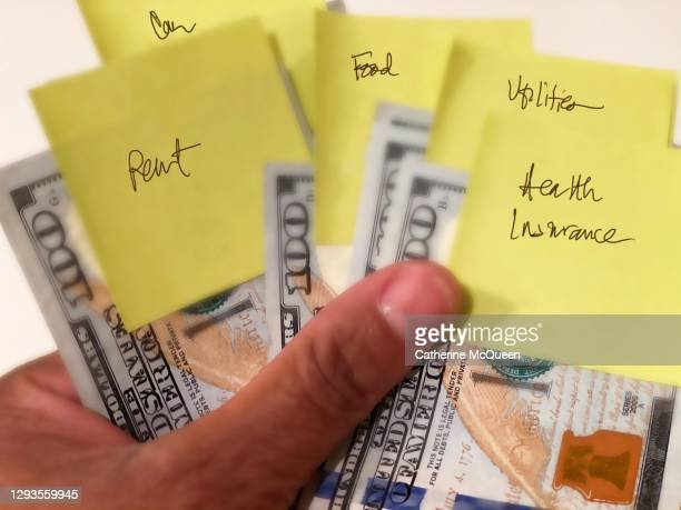economic stimulus: six crisp $100 bills with sticky notes attached to each bill indicating budget expenses - economic stimulus stock pictures, royalty-free photos & images
