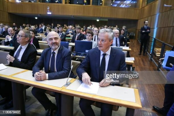 Economics Nobel Prize laureate Jean Tirole European Commissioner for Economic and Financial Affairs Pierre Moscovici and French Finance and Economy...
