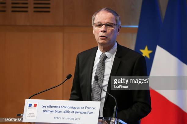 Economics Nobel Prize laureate, Jean Tirole talks during a seminar on the theme « Economic reforms in France: first assessment, challenges and...